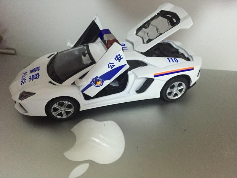 Custom White Color Lamborghini Die Cast Pull Back Police Cars Toy